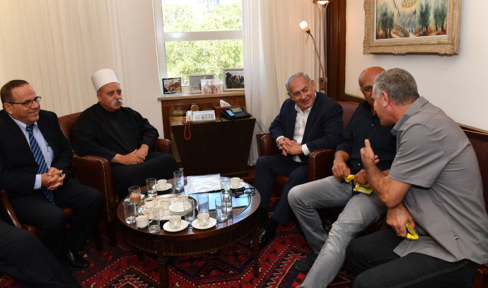 בנימין נתניהו בפגישה עם מנהיגי הדרוזים