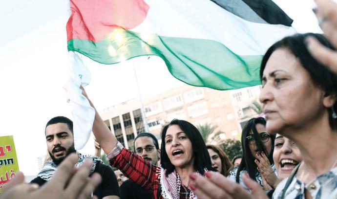 מפגינים עם דגל פלסטין