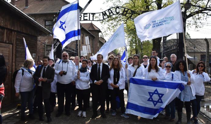 יצחק הרצוג ומשלחת הסוכנות היהודית למצעד החיים