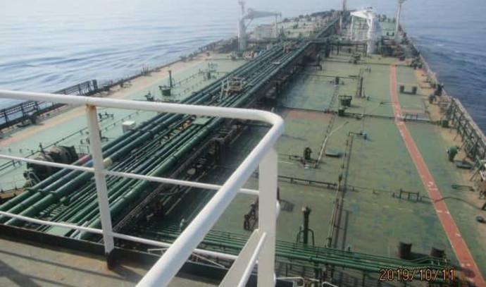 מכלית איראנית שהותקפה סמוך לחופי סעודיה
