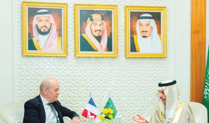 פגישתם של שר החוץ הצרפתי והסעודי
