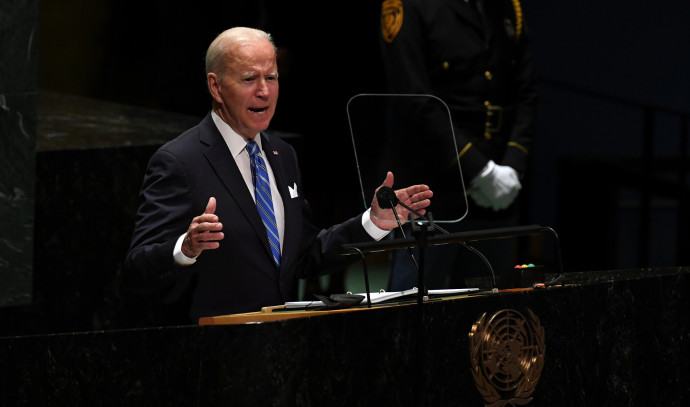 """Biden on the Israeli.Palestinian conflict: """"A two.state solution is far away"""""""
