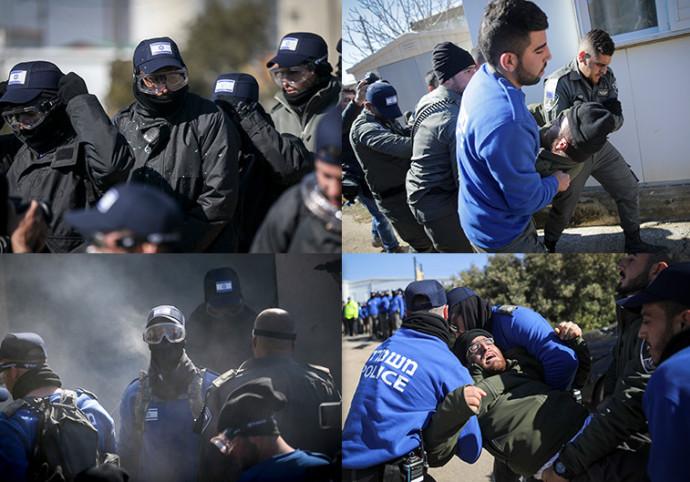 כוחות הביטחון מפנים צעירים ליד בית הכנסת בעמונה