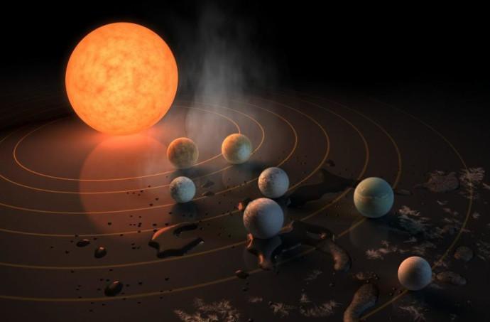 איור של  טראפיסט 1 ושבעת כוכבי הלכת