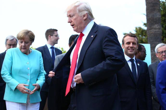 דונלד טראמפ ואנגלה מרקל בפסגת ה-G7
