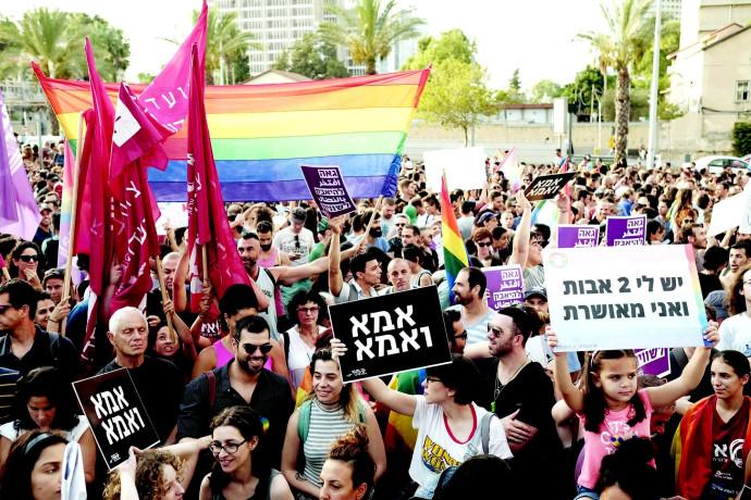 הפגנה של הקהילה הגאה בנושא האימוץ