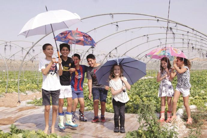 ילדים עם מטריות בגשם