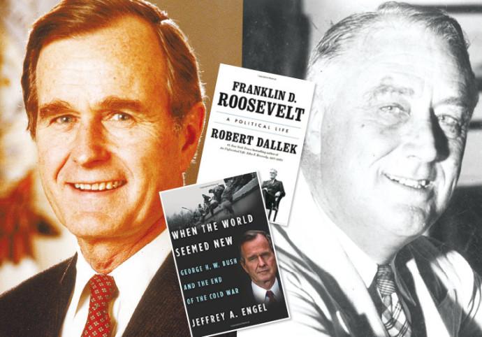 ג'ורג' בוש ופרנקלין רוזוולט, בקטן: כריכות הביוגרפיות של בוש ורוזוולט