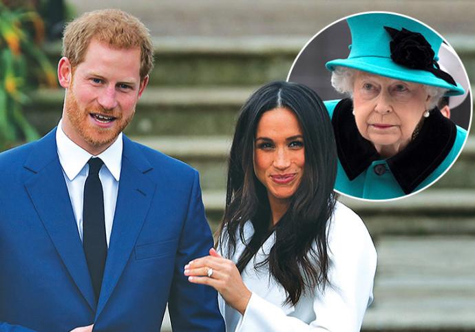 הנסיך הארי ובת זוגו מייגן מרקל מראים את טבעת האירוסין, בתמונה הקטנה: המלכה אליזבת