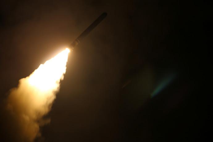 טיל שיוט אמריקאי ששוגר בתקיפה בסוריה