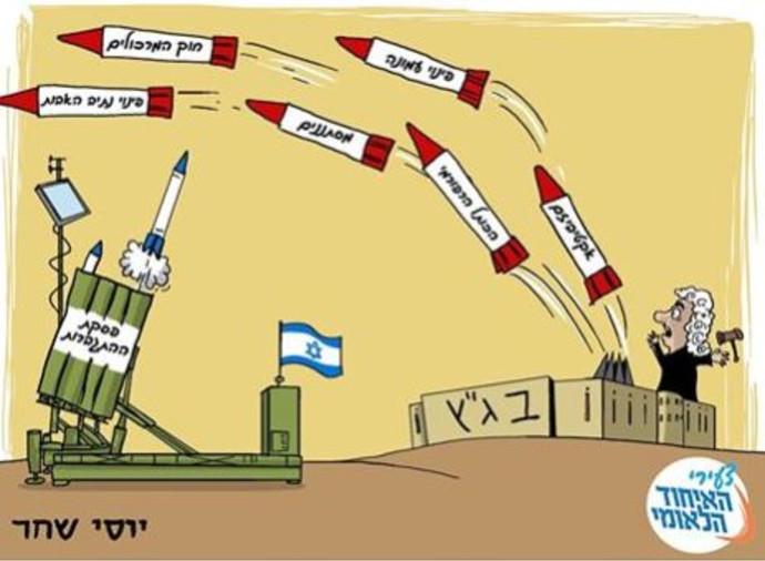"""קריקטורה שפורסמה נגד בג""""ץ ע""""י צעירי האיחוד הלאומי"""