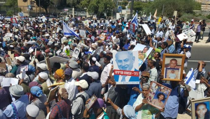 ההפגנה נגד העיכוב בעלייה מאתיופיה