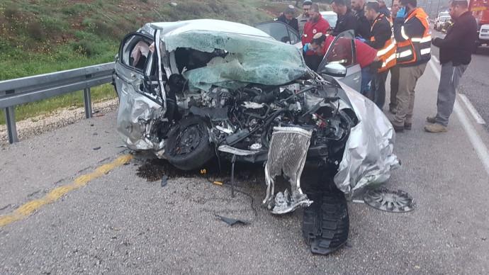 תאונה בכביש 60 בין אוטו למשאית