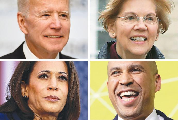 המועמדים הדמוקרטים מחממים מנועים. מימין, בכיוון השעון: וורן, בוקר, הריס וביידן