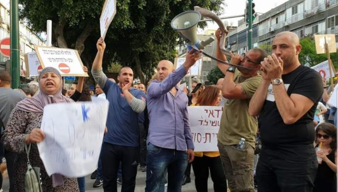 ההפגנה בשדרות ירושלים ביפו נגד התכנית החדשה של הרכבת הקלה