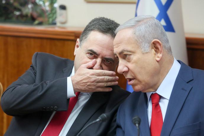 """ראש הממשלה בנימין נתניהו ושר האוצר ישראל כ""""ץ בישיבת ממשלה"""