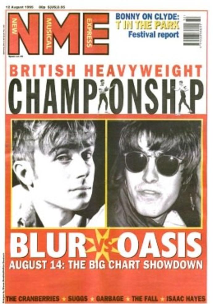 שער המגזין NME מאוגוסט 1995 - אואזיס נגד בלר