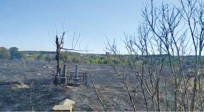 שריפה בבית עלמין יהודי באומן
