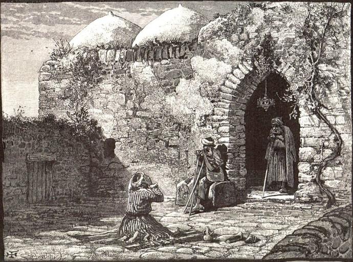 קבר יונה הנביא במשהד, עיראק. ציור: Harry Fenn