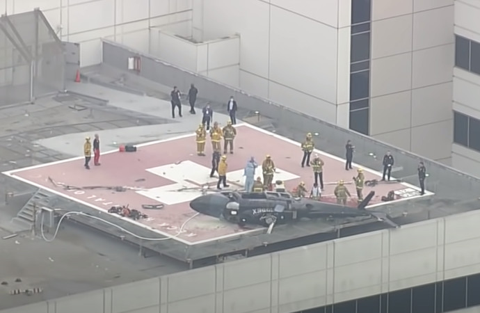 המסוק אחרי ההתרסקות על גג בית החולים
