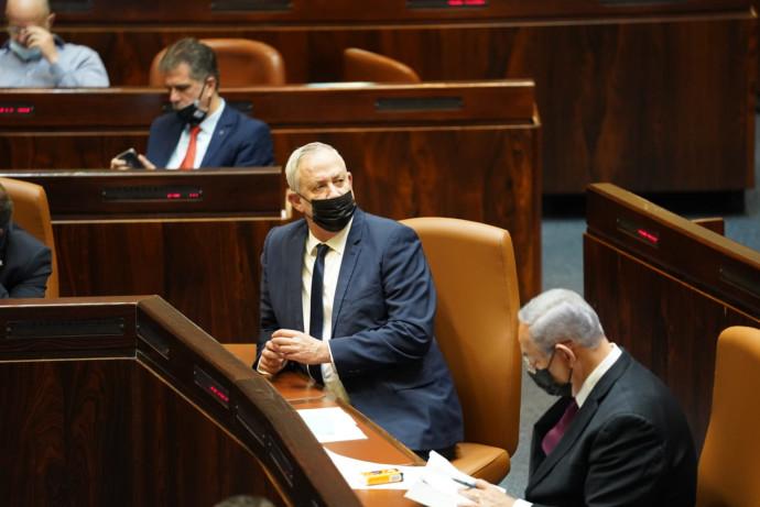 בנימין נתניהו ובני גנץ בהצבעה על הצעת החוק לפיזור הכנסת