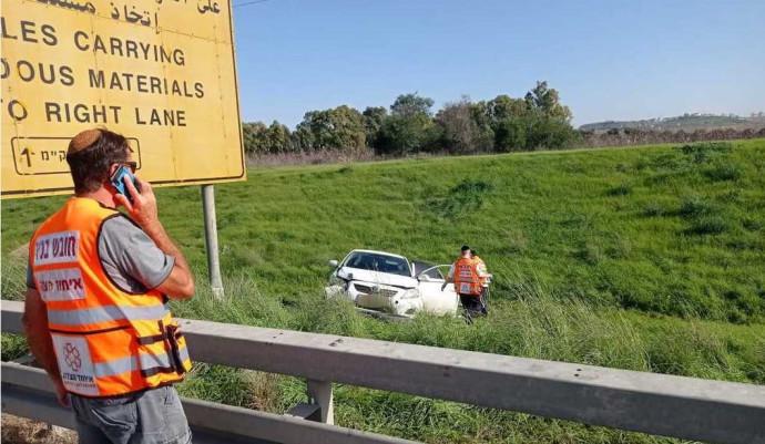 הרכב שהיה מעורב באירוע בכביש 6