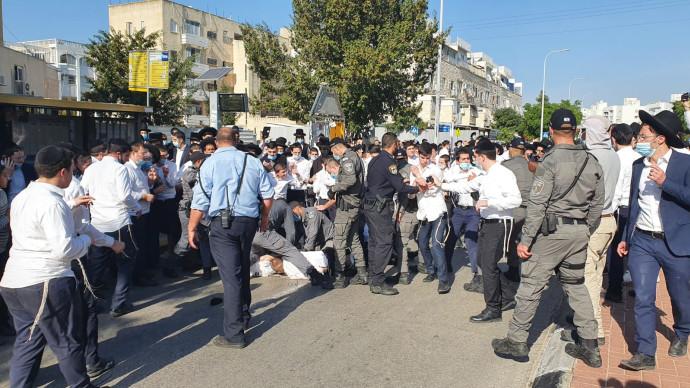 עימותים בין שוטרים לחרדים על אכיפת הסגר באשדוד