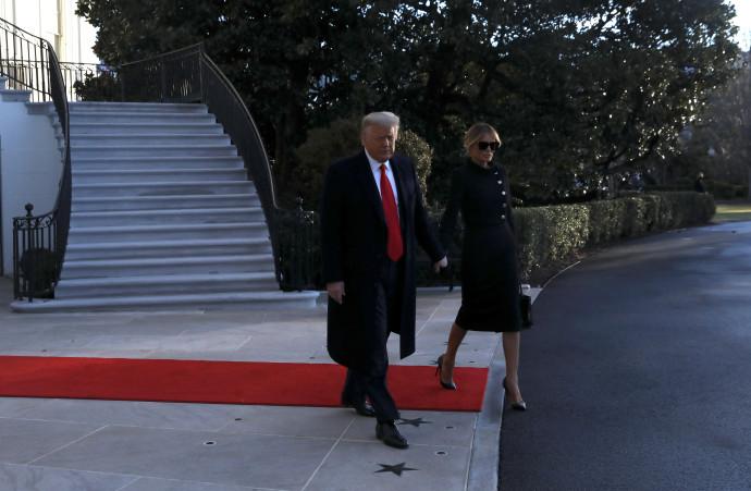 הנשיא טראמפ ואשתו מלניה עוזבים את הבית הלבן