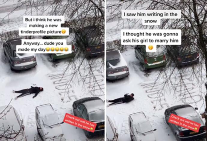 """""""שלחי עירום"""", המסר ההזוי בשלג"""