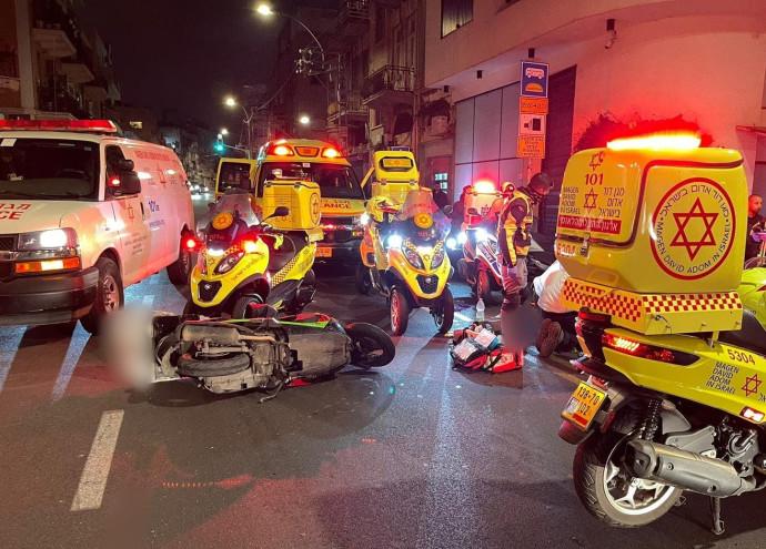 זירת התאונה בדרך יפו, תל אביב