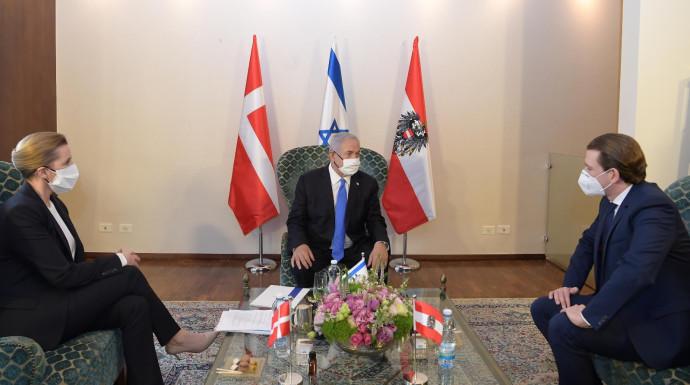 ראש הממשלה בנימין נתניהו, קנצלר אוסטריה סבסטיאן קורץ וראש ממשלת דנמרק מדה פרדריקסן