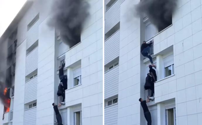 החילוץ מהבניין הבוער