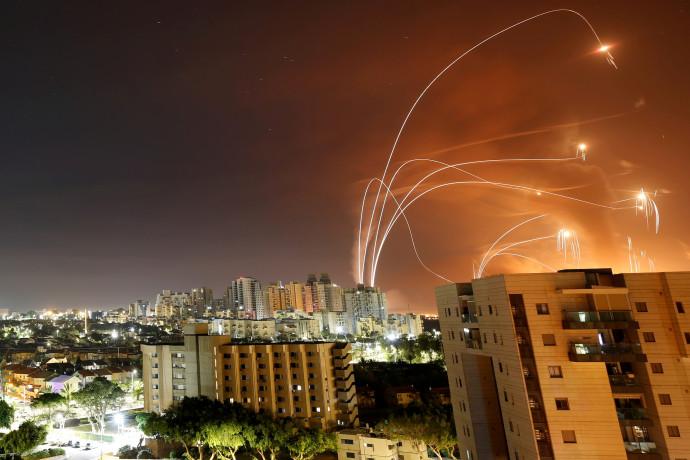 יירוט רקטות של חמאס בשמי הדרום