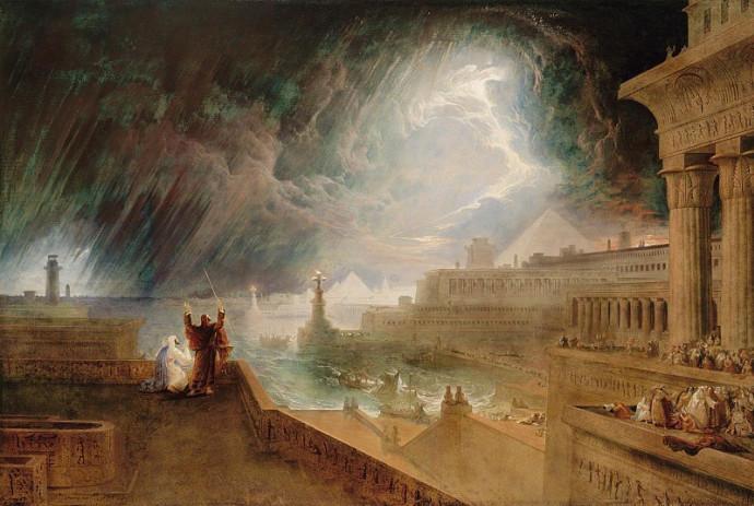 מכת ברד. ציורו של ג'ון מרטין (1823)