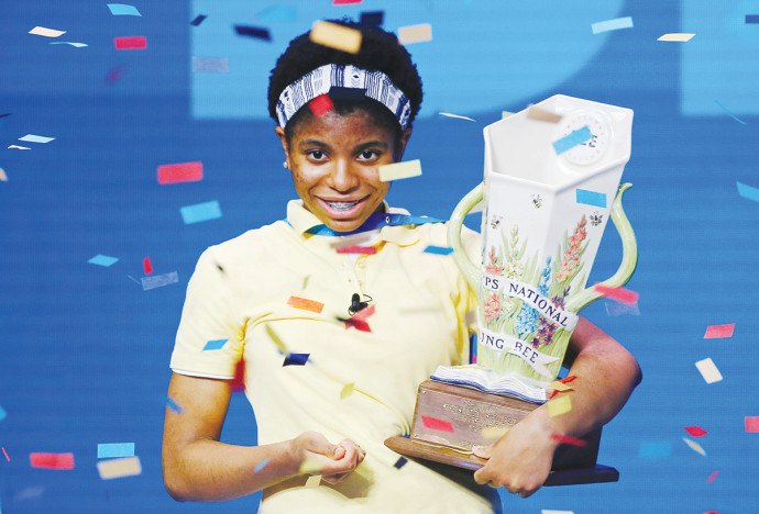 """זיילה, הזוכה השחורה הראשונה בתחרות האיות המפורסמת של ארה""""ב"""