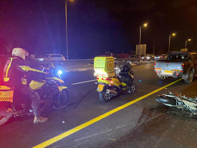 זירת תאונת האופנוע באזור מעלות