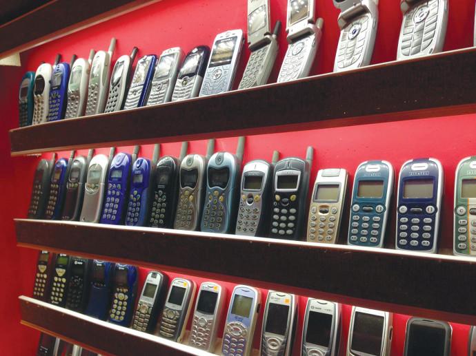 הטלפונים הניידים המוצגים במוזיאון