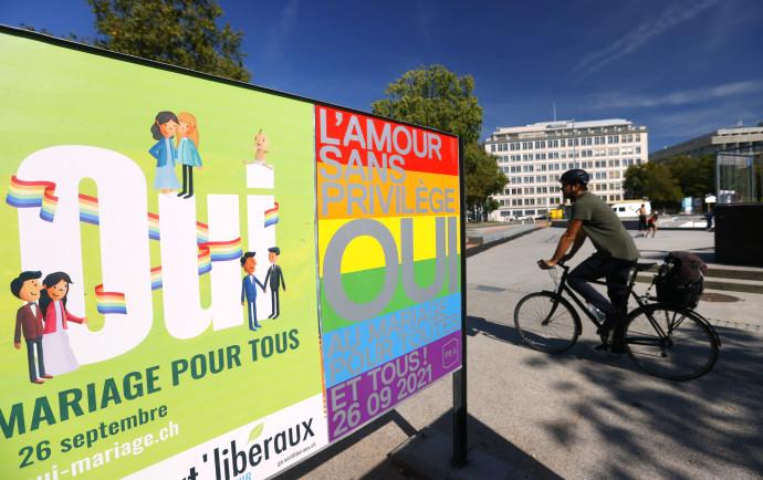 שלט בעד נישואים חד מיניים בשוויץ