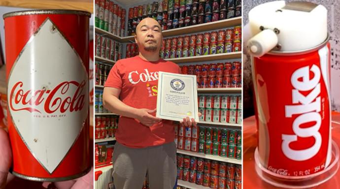 האספן השיג 11,308 פחיות קוקה קולה