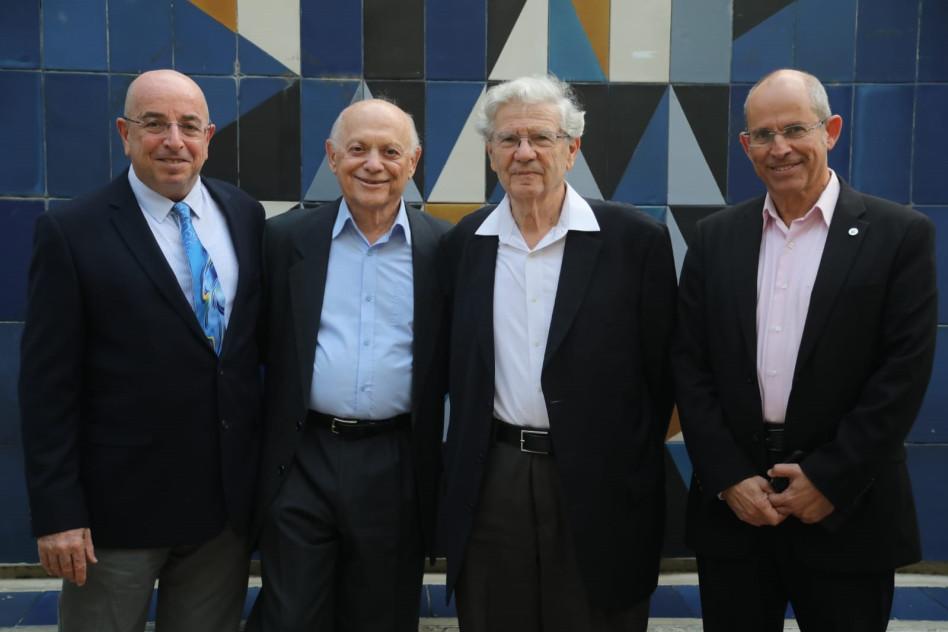 משה צבירן, אהרון ברק, יוסף גרוס ואודי אהרוני (צילום : גדעון מרקוביץ)