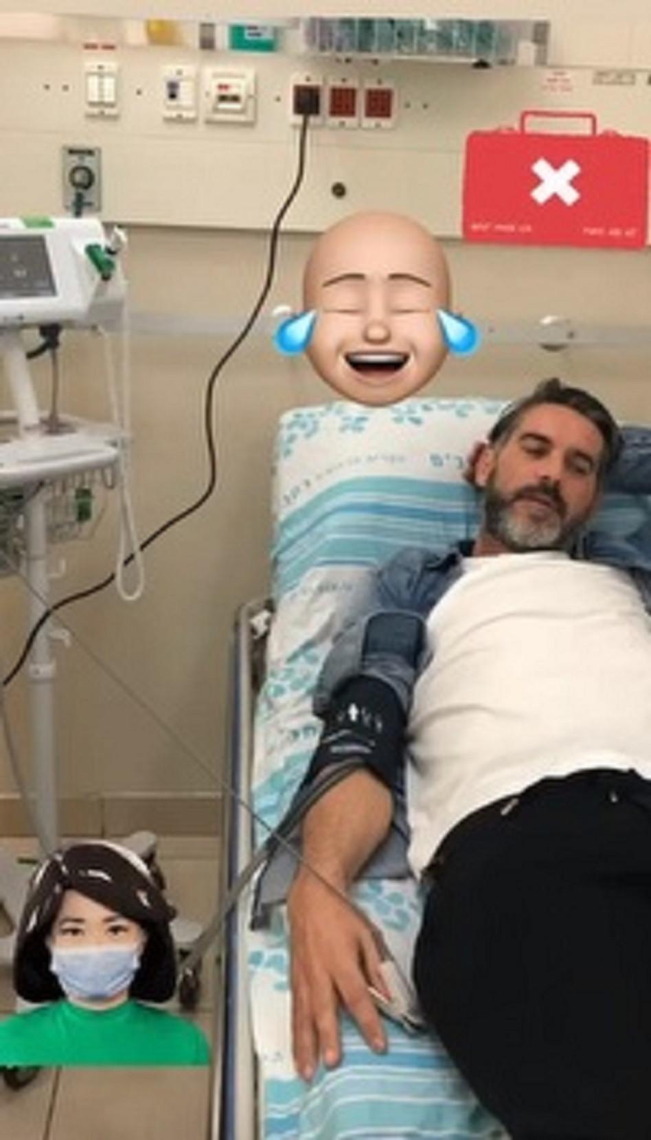 ג'ובאני רוסו בבית החולים (צילום: צילום מסך אינסטגרם)
