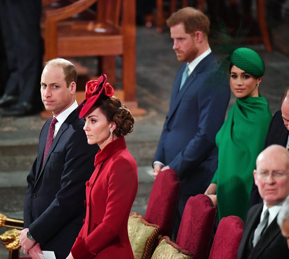 מייגן מרקל, הנסיך הארי, קייט מידלטון, הנסיך וויליאם (צילום:  PHIL HARRIS  Getty Images)