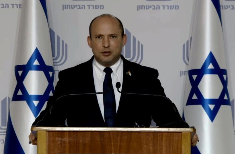שר הביטחון נפתלי בנט במסיבת עיתונאים (צילום: צילום מסך)