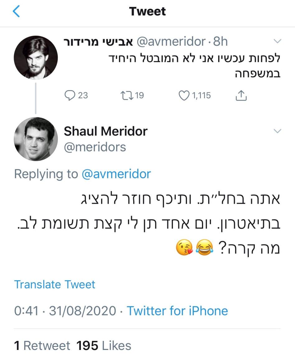שאול ואבישי מרידור (צילום: צילום מסך טוויטר)