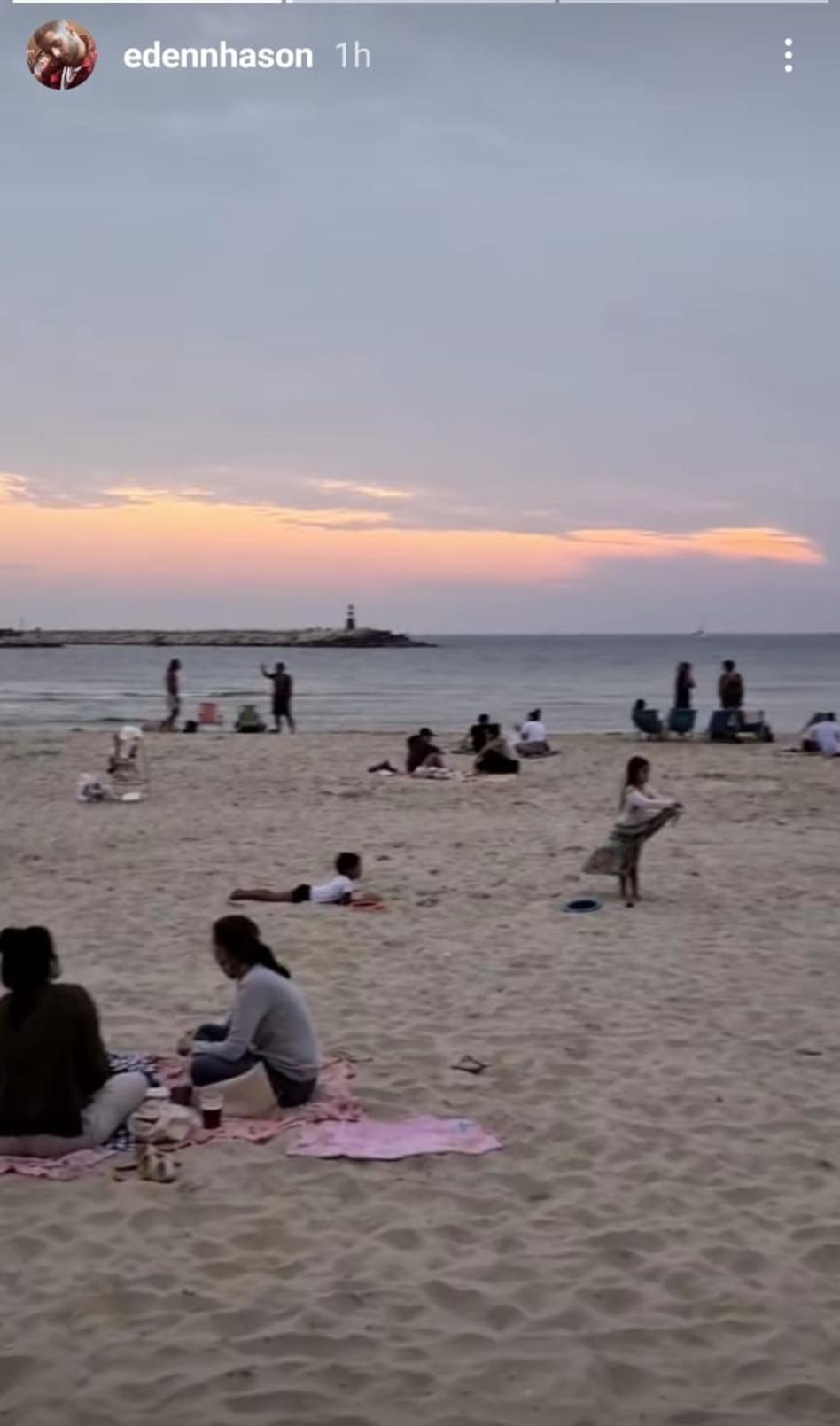 עדן חסון בים (צילום: צילום מסך אינסטגרם)