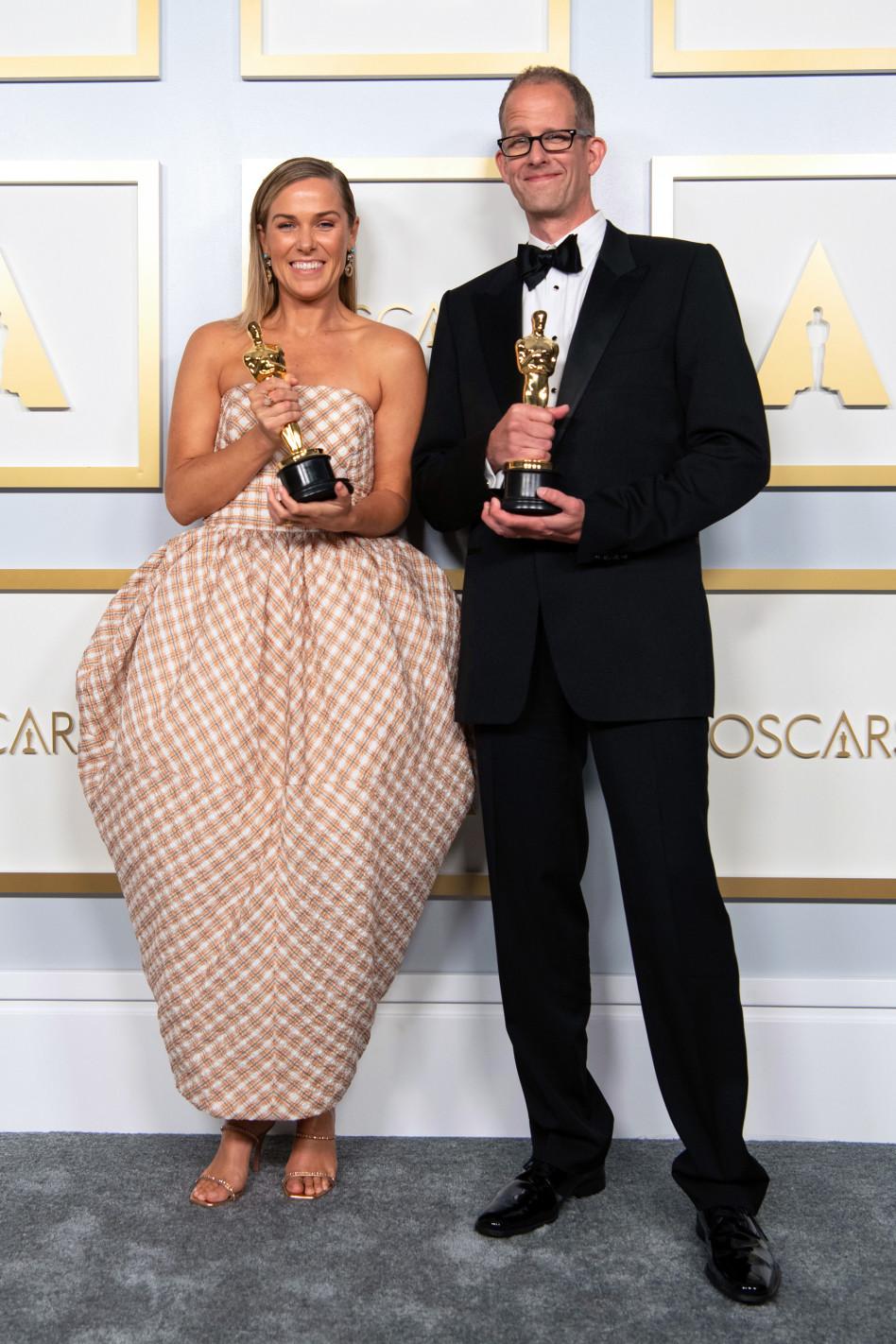דנה מאריי ופיט דוקטר זכו בפרס האנימציה לסרט נשמה (צילום: Getty Images / Handout)