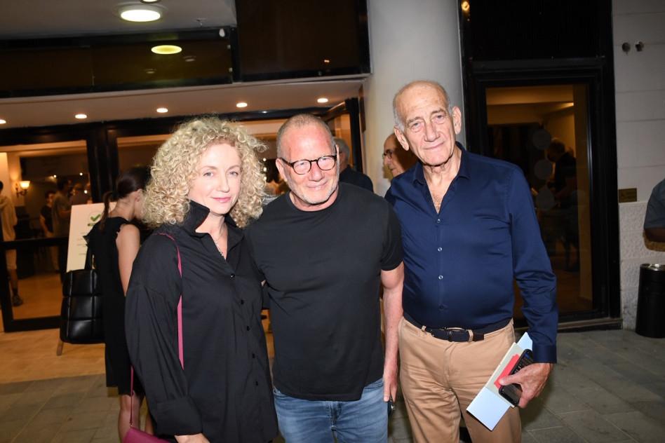 אהוד אולמרט, רוני דואק ולנה קריינדלין (צילום: אביב חופי)