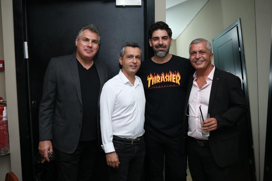 אלי אהרוני, רותם כהן, אילן אהרוני ואבי קורנפלד (צילום: סיני יצחקי)