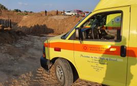 זירת התאונה בחוף אשקלון