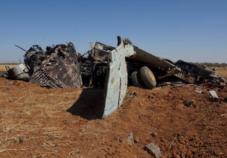 מטוס צבא סוריה שהופל - ארכיון. צילום: רויטרס